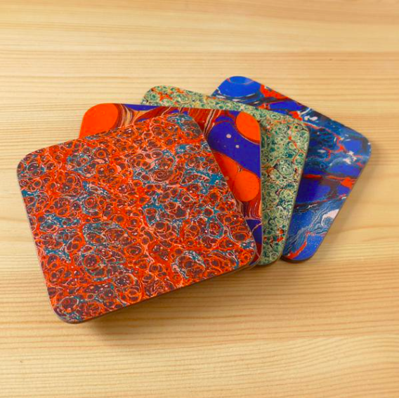 Set of 4 Endpaper Coasters   Coasters feature endpaper designs from a variety of C19th and early C20th books.  £7.99
