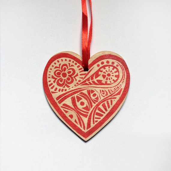 Wooden Heart Christmas Tree Decoration    £3.50