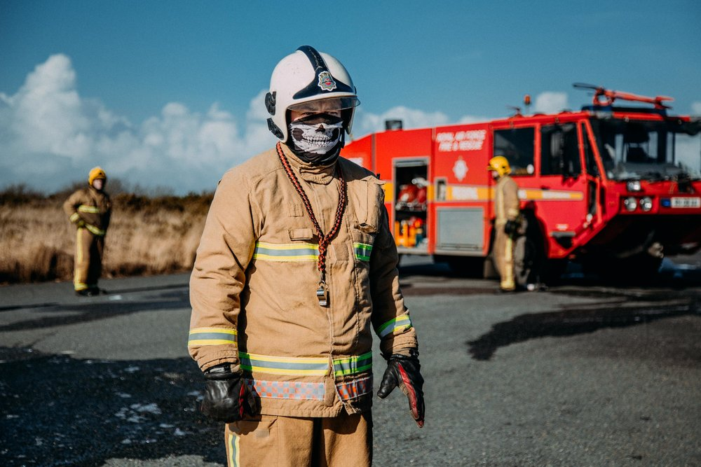 John Etherington pictured after an RAF Fire Service training session at Predannack Airfield. Helston, Cornwall, UK. 15th Feb 2017.