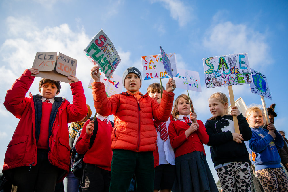 School students protest climate change for the #YouthStrike4Climate strike outside Cornwall's County Hall in Truro, Cornwall, UK. 15th Feb 2019.