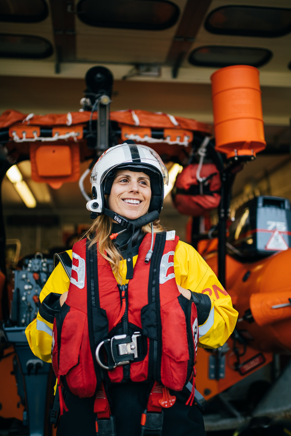 RNLI volunteer Wendy Rabett pictured at Falmouth RNLI Lifeboat Station. Falmouth, Cornwall, UK. 8th Feb 2019.
