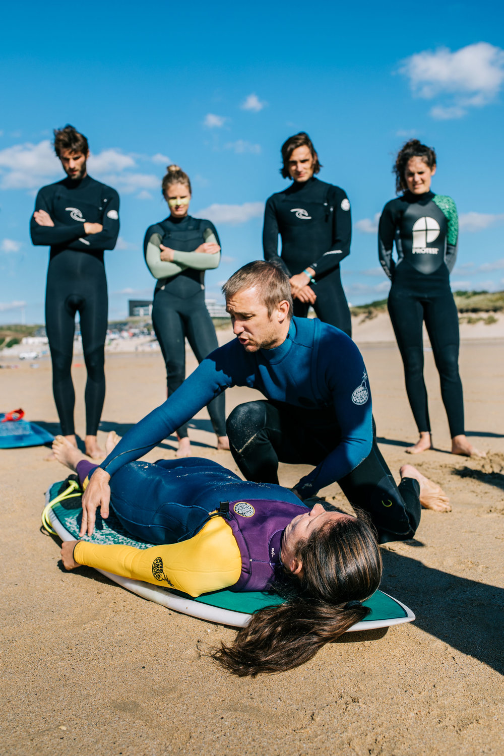 A surf lifesaving course takes place on Fistral beach as part of the Surf Medicine International conference. Newquay, Cornwall, UK. 26th Sept 2018.