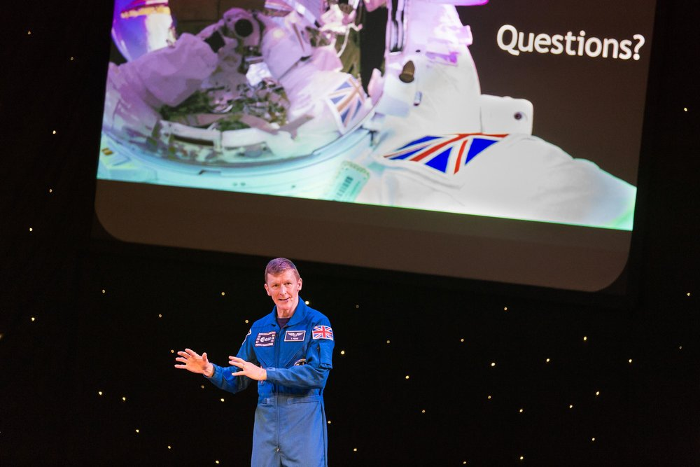 British astronaut Tim Peake takes audience questions after a talk following his acceptance of the Freedom of the City award from his home town of Chichester at Chichester Festival Theatre. Chichester, UK. 25th Feb 2018.