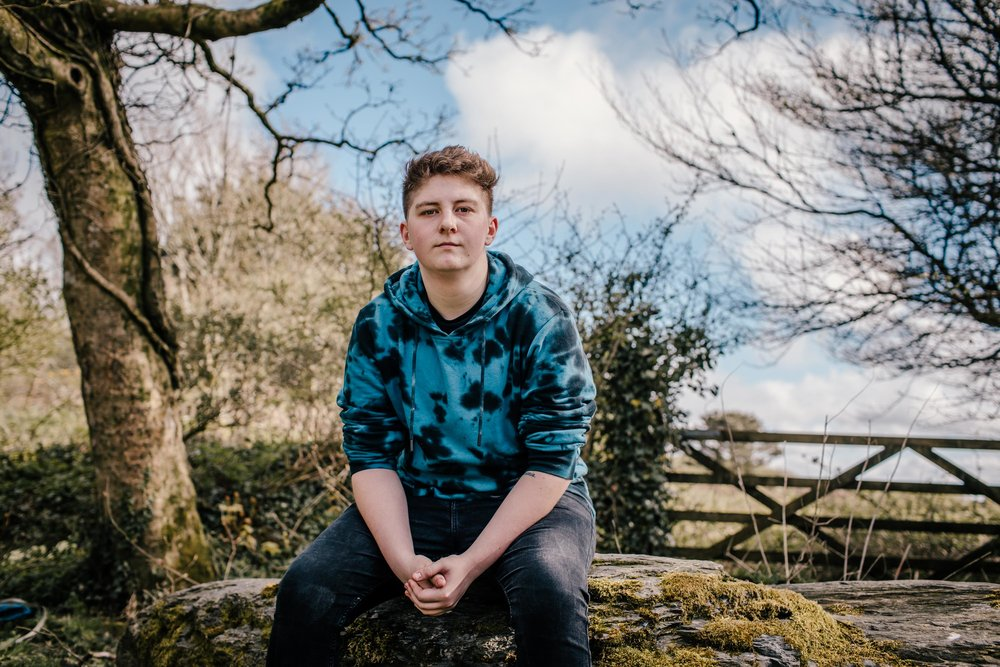 Portrait of Miles Everitt, whose school allowed him to use male staff toilets when he learned he was transgender, in his home village of Delabole, Cornwall, UK. 22 April 2018.