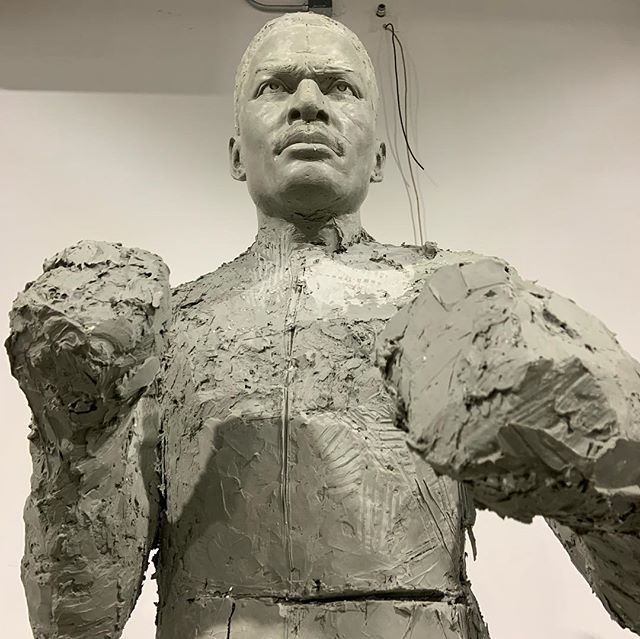#WIP of Ezz, Heavyweight Champion of the World. Entrepreneur. Renaissance Artist. The people of Cincinnati agree. There are few Queen City heroes like #EzzardCharles. Help share Ezz's inspirational story. Support #CincinnatiParks mission of Conservation, Health and Wellness. Support the World's First Interactive Bronze Sculpture of Ezzard Charles standing tall in Laurel Park; on the street renamed for him; in the heart of the neighborhood he inspired. Help us raise the money we need to make the sculpture happen! We #BelieveInEzz  #LOVECincyParks #Cincy #Cincinnati #513 #WestEndPride #WestEnd #QueenCity #Parks #Ezz #Boxing #BoxingHeads #BoxingBegend #HeavyweightChampion #Champion #CincinnatiCobra #BoxingLegacy #Statue #Sculpture #Community #NonProfit  #DesignBoom #Design  #Art #Donate