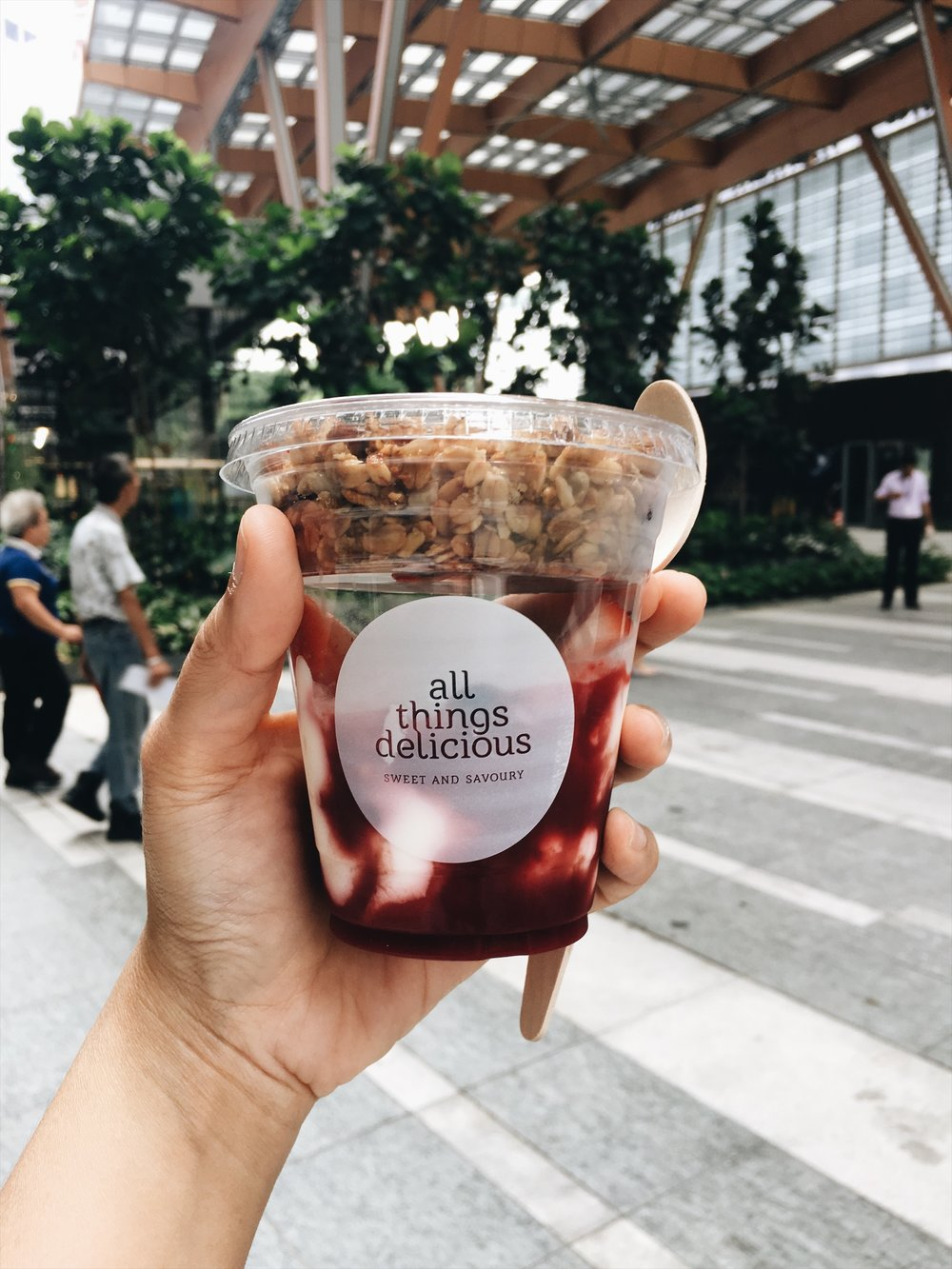 THESE YOGURT CUPS ARE TOPPED WITH MEL'S HOUSEBLEND GRANOLA TO KEEP YOU GO-GO-GOING IN THE CBD!
