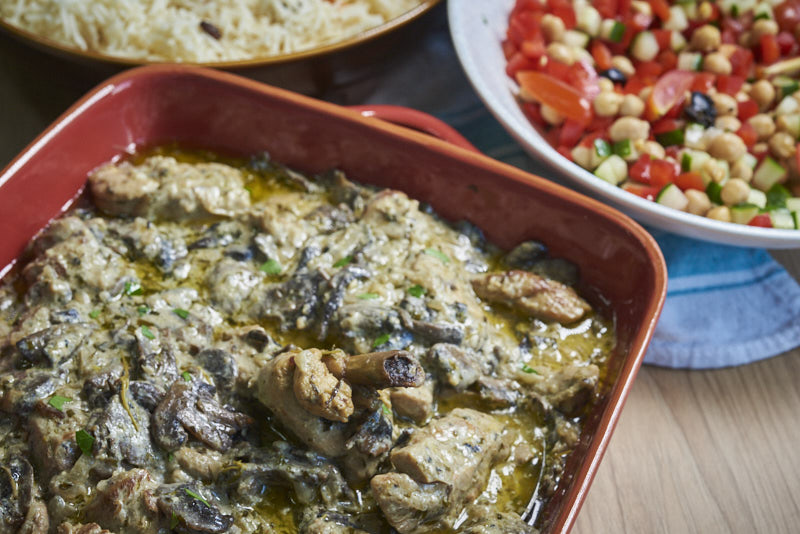 Dijon Chicken with button mushrooms, so creamy and coming straight from a Parisian bistro
