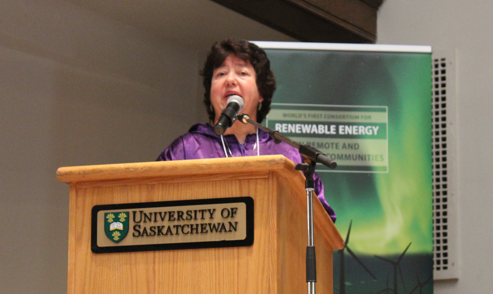 "AVEC CEO Meera Kohler presenting at the ""Renewable Energy in Remote and Indigenous Communities"" symposium at the University of Saskatchewan, September 5, 2017"