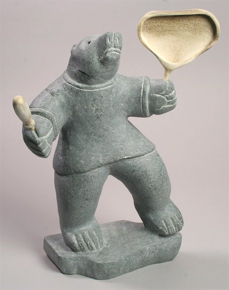 Bear Drummer by Leo Napayok. SOURCE: Canadian Arctic Producers