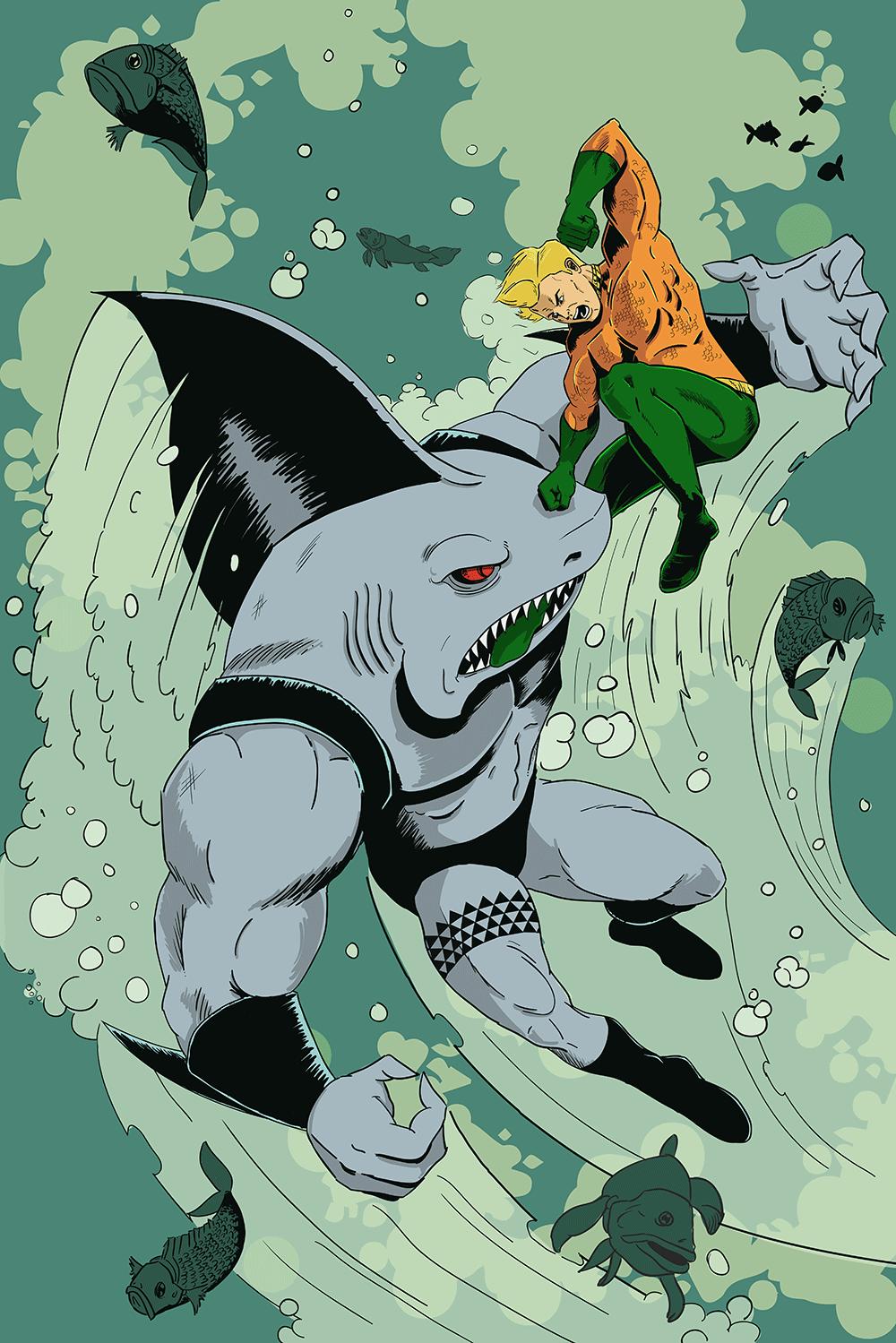 Aquaman v. Kingshark Cover Art