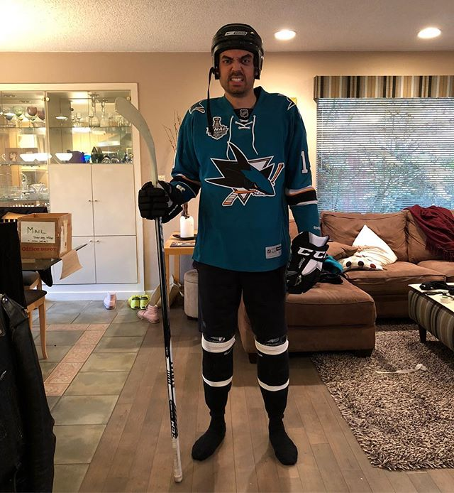 Halloween 2018. I surprised no one by dressing up as a hockey player for our office party. I got a lot of props for my black eye though.  @sanjosesharks #halloween #hockeyplayer #blackeye