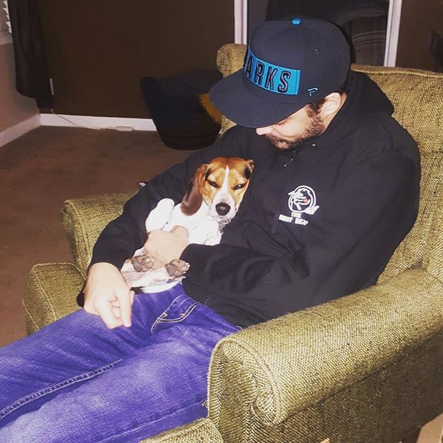 This good boi loves his Uncle Joel  #pupper #cooper #beagle