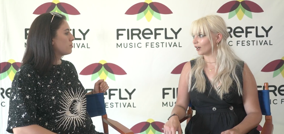 Cassidy Kotyla interviewing Nashville native Savannah Conley at Firefly Music Festival 2018 in Dover, Delaware.