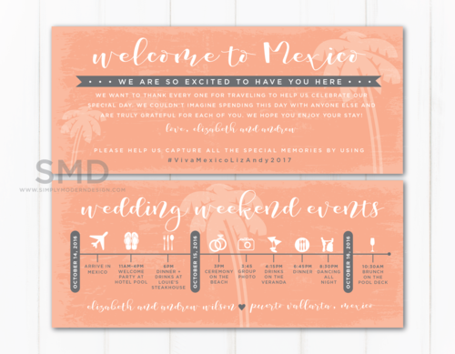 Wedding Timeline | Tropical Destination Wedding Timeline Simply Modern Design
