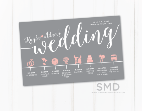 Wedding Schedule Of Events | Wedding Schedule Of Events Simply Modern Design