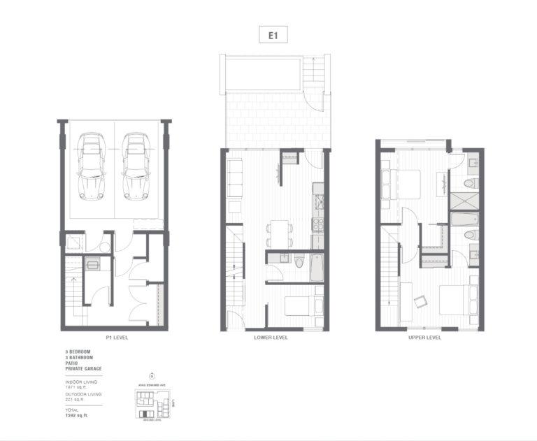 3-bedroom townhouse floorplan
