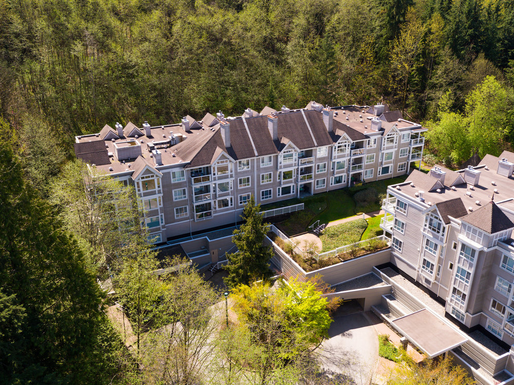 Aerial view of the Glenmore - 3099 Terravista Pl. on the left, and 3033 Terravista Pl. on the right.