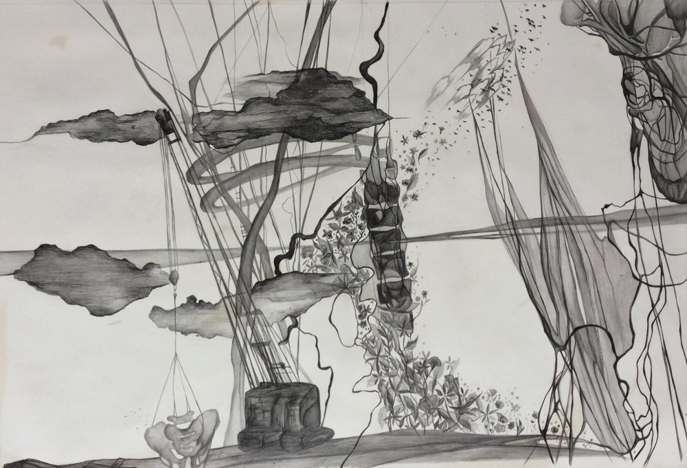 """may these hips stand sturdy. 30""""x20"""". Pencil on paper"""