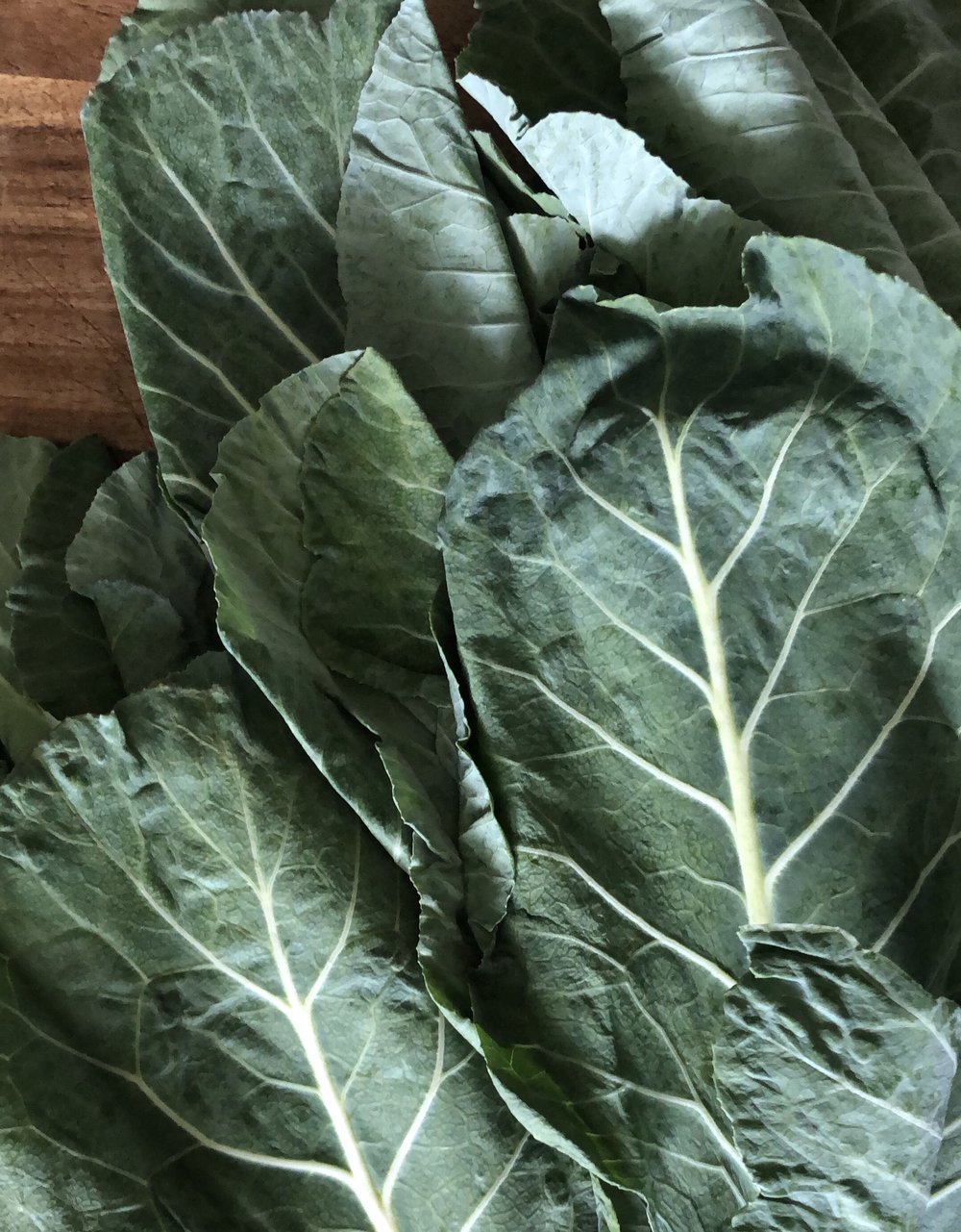 Start with 15-20 Leaves of Collard Greens.
