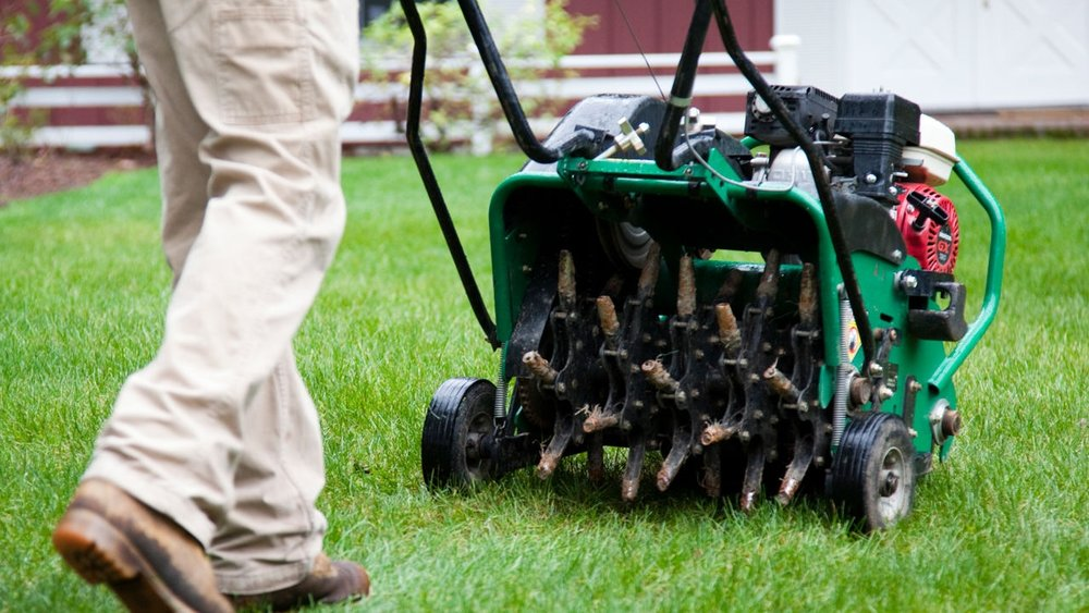 Photo of man pushing aerator on a residential lawn