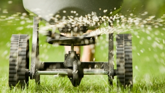 Close up photo of seeding machine on lawn