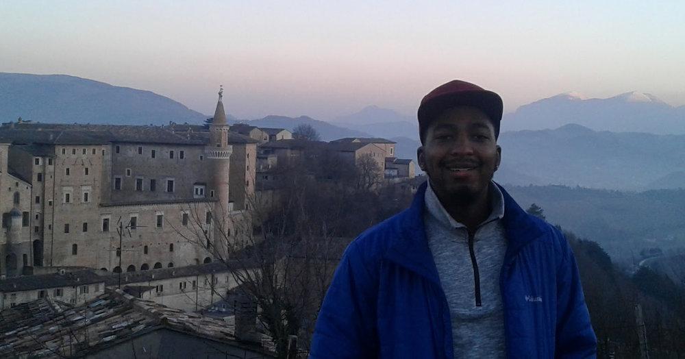 Cameron in Urbino, Italy.