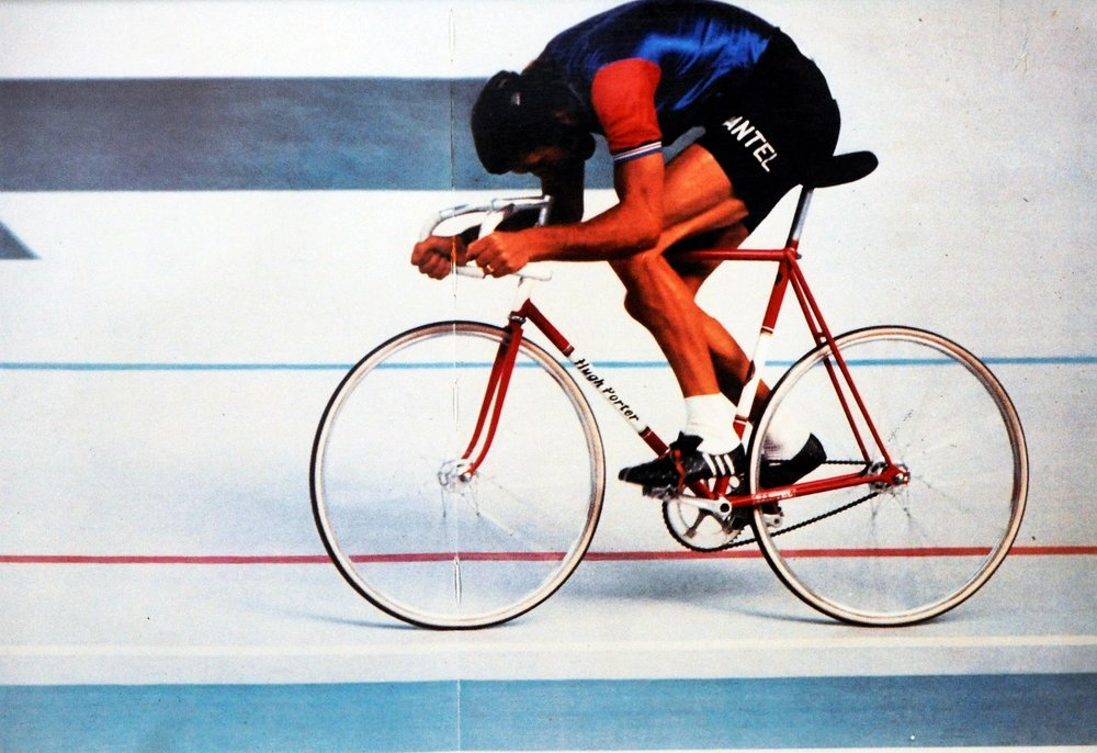 "A message from Hugh ""Hi Steve I just came across your website and was looking at the frames , do you remember when you built this one for me ? Picture is the final of the World Pursuit Championship in In 1973 . Hope you are well and business is good for the best frame builder around . Regards Hugh Porter. MBE"""