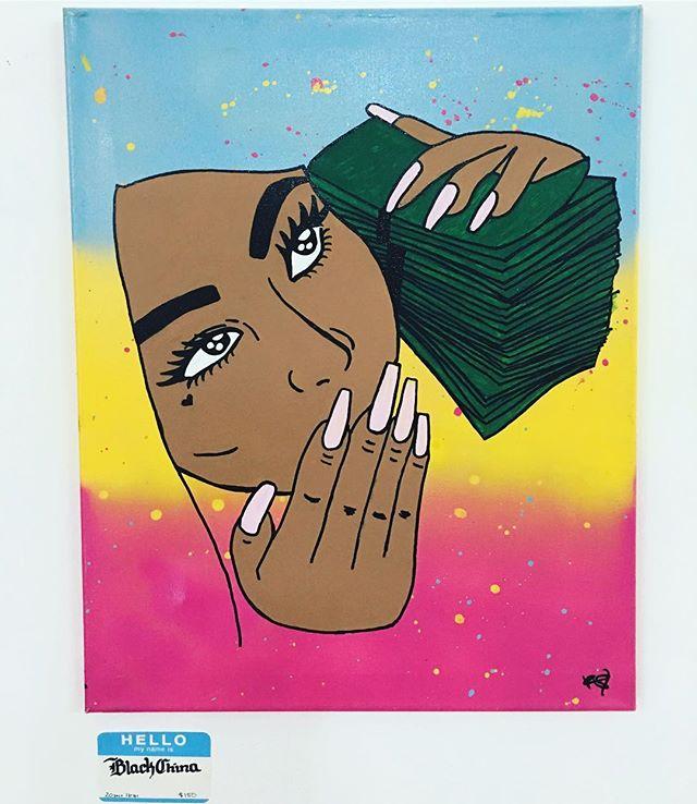@artistrheosantana at @institution18b #artist #art #contemporaryart #canvas #streetart #420 #racksonracks #painting