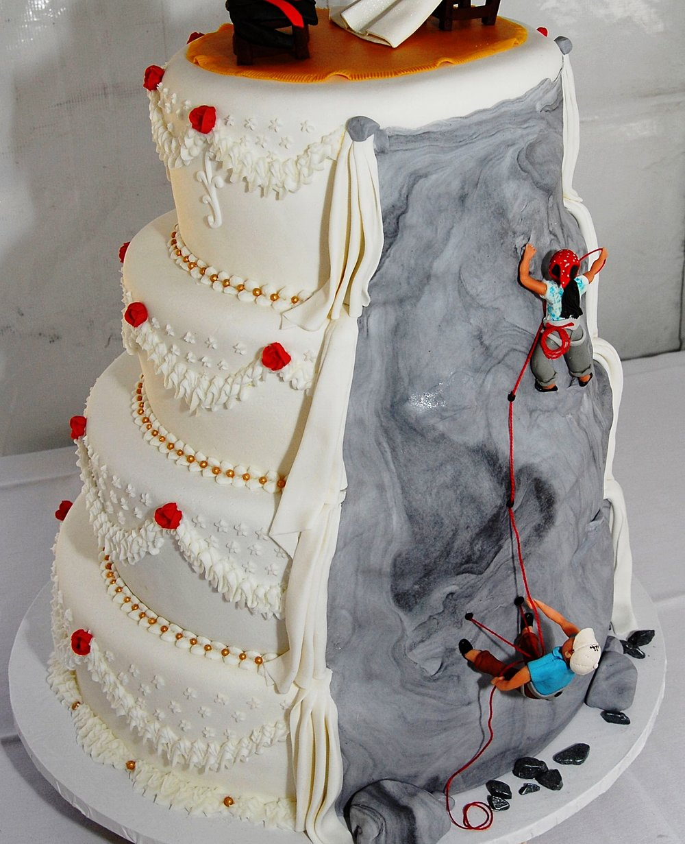 Cake Image from  Cake Central  and it's a wedding cake not a birthday cake. There is a whole  Pinterest  page of climbing themed cakes - two of our favorite things.
