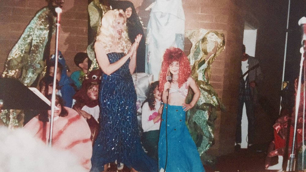 "Gianna in her first solo ever as Ariel from Disney's The Little Mermaid at Community Presbyterian Church circa 1990 singing the reprise of ""Part Of Your World""."