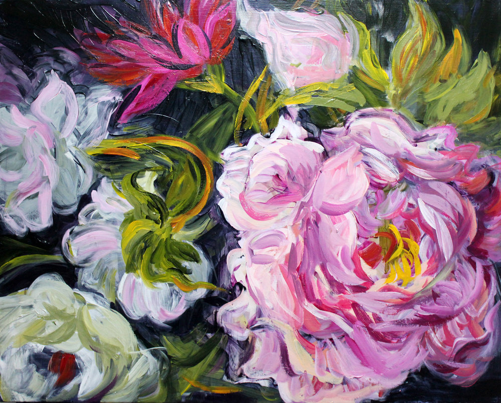 Peonies on Black 24x30