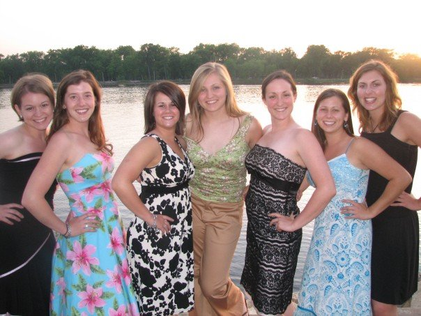 "From spring 2007 - the year we lived together. I literally did not have a dress at the house - ha! I was not a ""fancy"" college girl… if I could turn back time. :)"