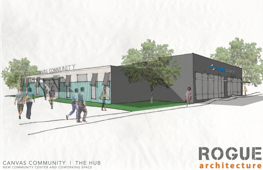 Canvas Community Church and The Hub - Historic Renovation of an old Dr. Pepper bottling facility in Downtown Little Rock. Construction to begin mid 2018.