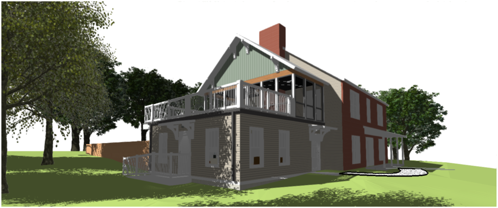 Design for a single family addition - Mother-in-Law Suite and second floor master porch.