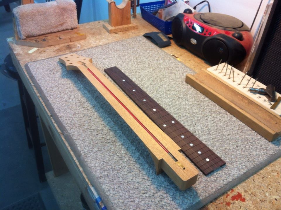 Truss rod secured and ready to glue on fretboard.