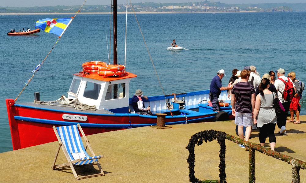 Caldey Island landing stage and boat.jpg
