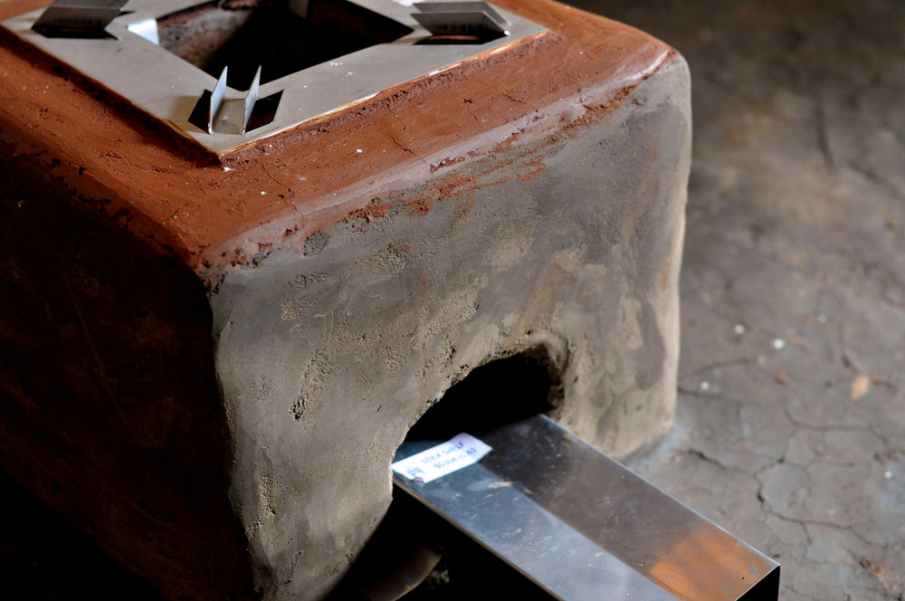 The TLC-CQC Rocket Stove is constructed with bricks and mud with high quality, durable stainless steel metal parts.