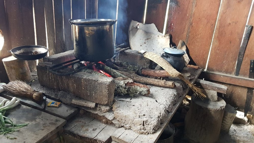 Traditional open-fire indoor cooking in Mexico.