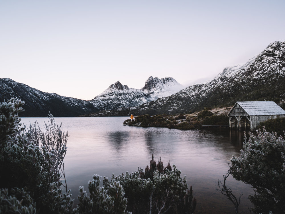 Dove Lake, The Boat Shed and Cradle Mountain in the Distance.