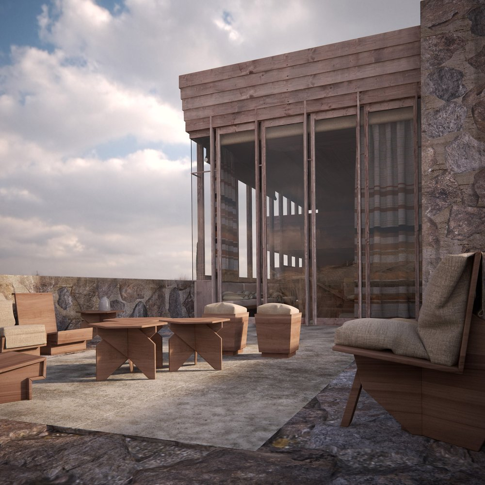 """""""Made of stone and wood, the house burnt down one year after completion following a fire. It featured large expanses of glazing to offer views of the desert in Arizonia"""""""
