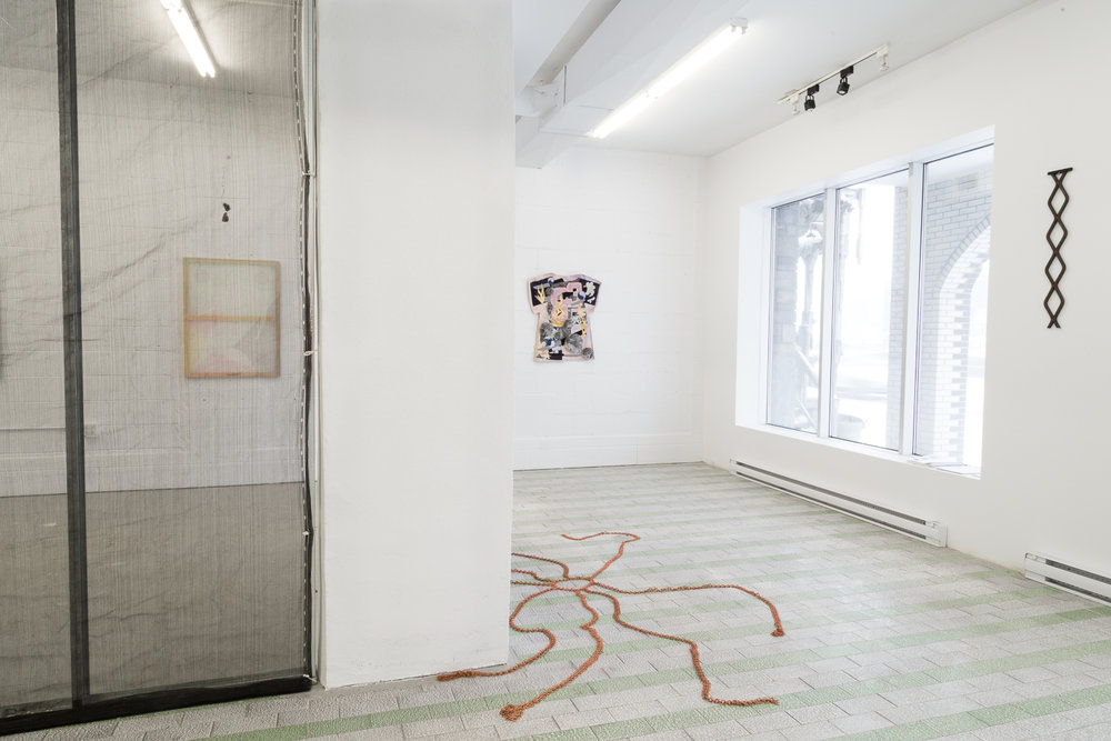 Installation View,  Four Pillars, 2018 © Sandra La Rochelle.Courtesy of L'INCONNUE. Left to right: Laurie Kang's  In Form and Ruin, 2017; Hanna Hur's  Endless Spring vii , 2017;Hur's  Mother ii, 2017; Zadie Xa's  The Rabbit, the Knife and the Year of the Pig, 2017, Maia Ruth Lee's  Acqua Alta,  2018.