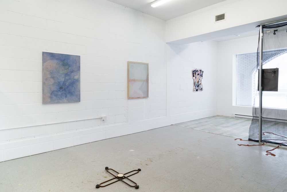 Installation View,  Four Pillars, 2018 © Sandra La Rochelle.Courtesy of L'INCONNUE. Left to right: Hanna Hur's  Fever  II, 2017; Maia Ruth Lee's  Mother's Knot,  2018; Hur's  Endless Spring vii,  2017; Zadie Xa's T he Rabbit, the Knife and the Year of the Pig, 2017, Hur's  Mother ii, 2017. Laurie Kang's  In Form and Ruin, 2017.