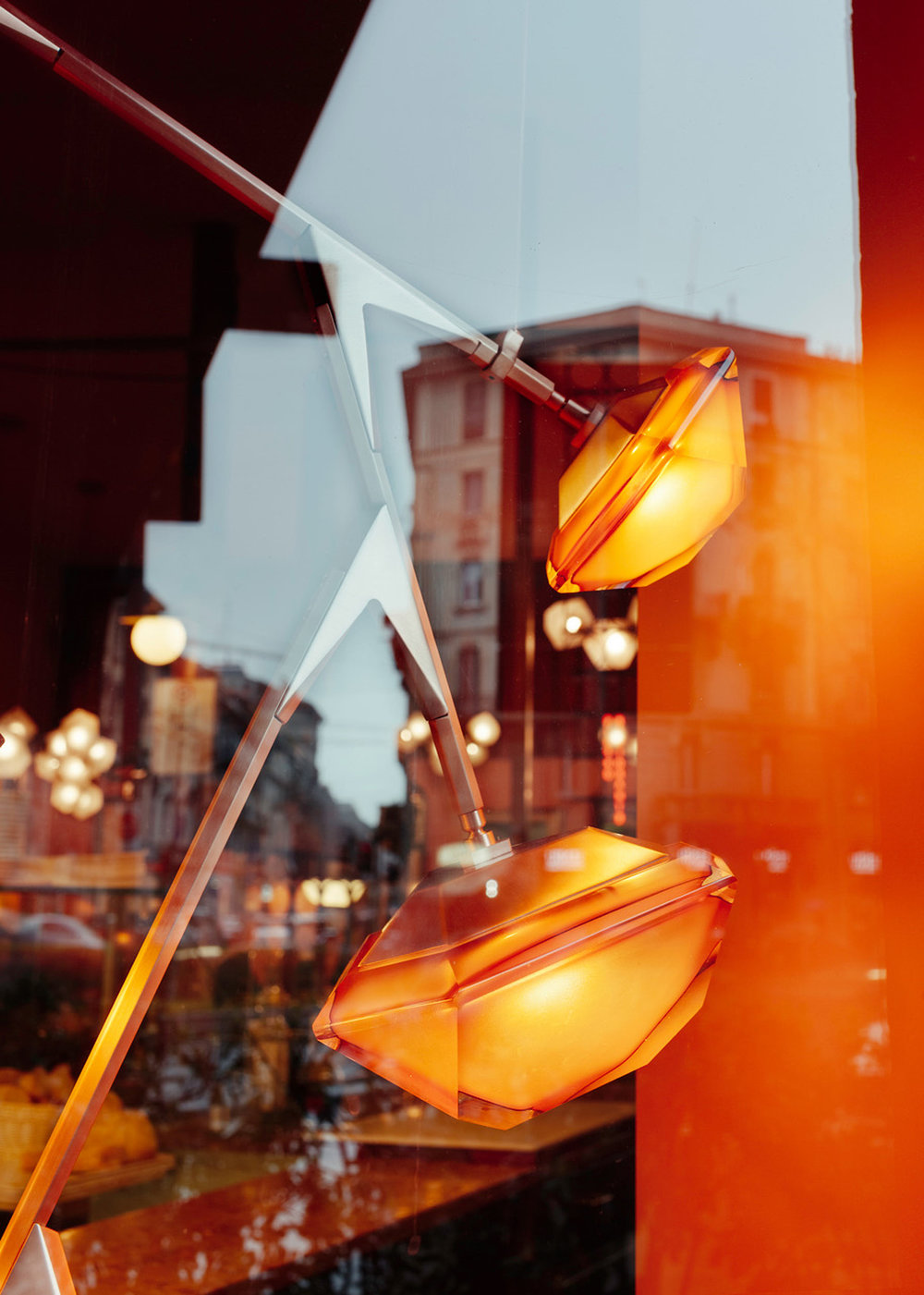MYRIAD  fixtures in Negroni-inspired glass