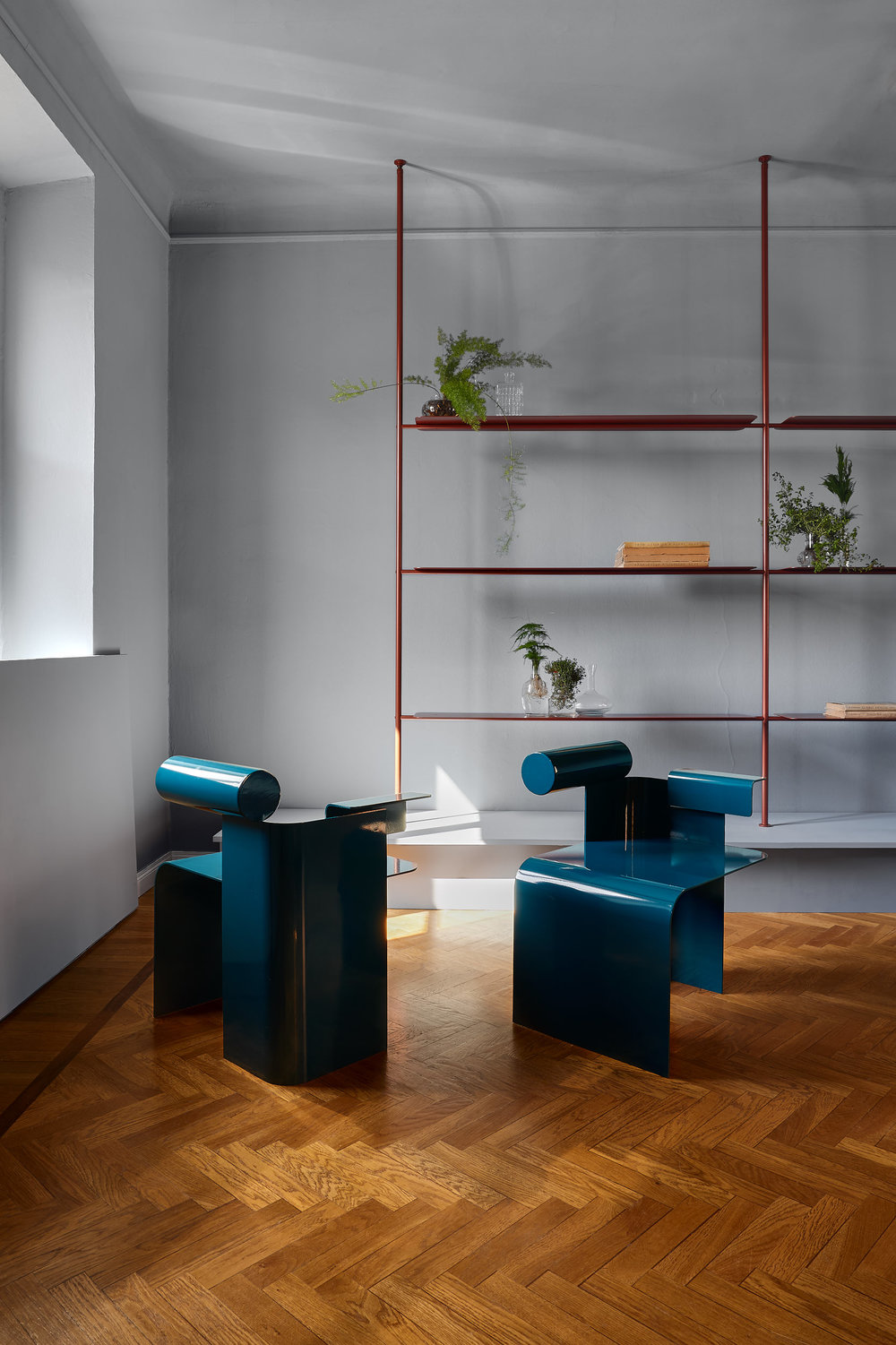 Chairs by  Zebulon Perron , shelves by  Foraine — Atelier Barda