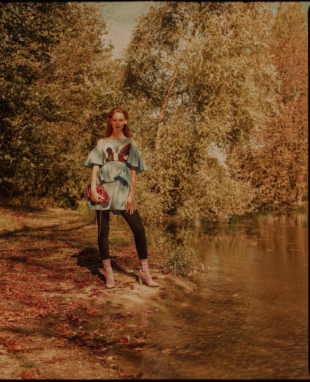 Silk dress - Dice Kayek, Silk bra - Emilio Pucci, Leather bag - Mulberry, Cotton socks - Léo, Fabric boots - Marine Serre.