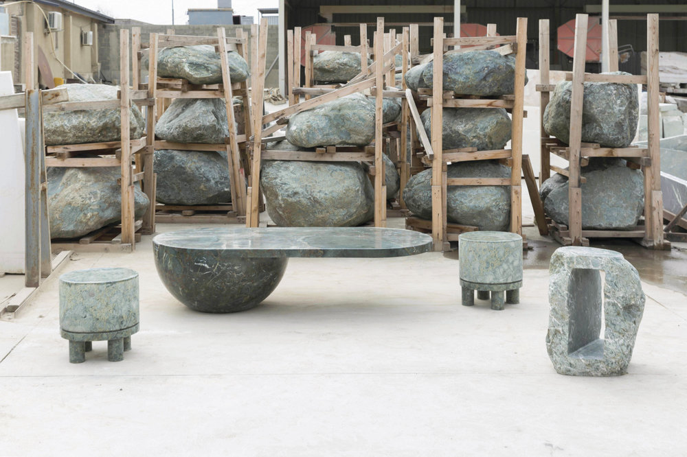 The stone pieces are made in collaboration with the Georgian stone company Kamara. Photos by Guram Kapanadze.