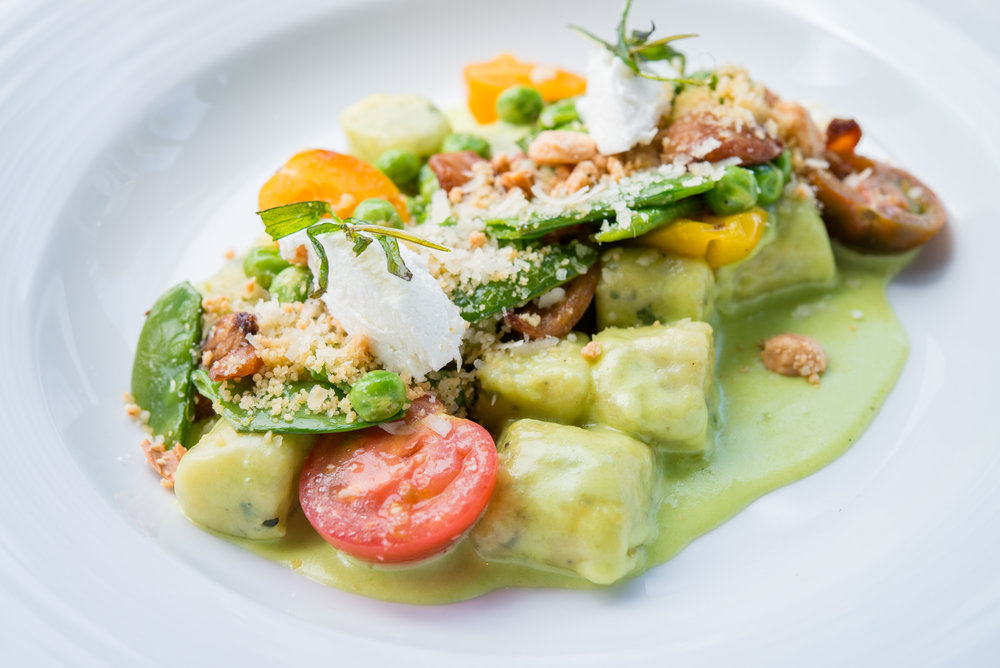 GNOCCHI | fresh spring peas | tomatoes | goat cheese | mint
