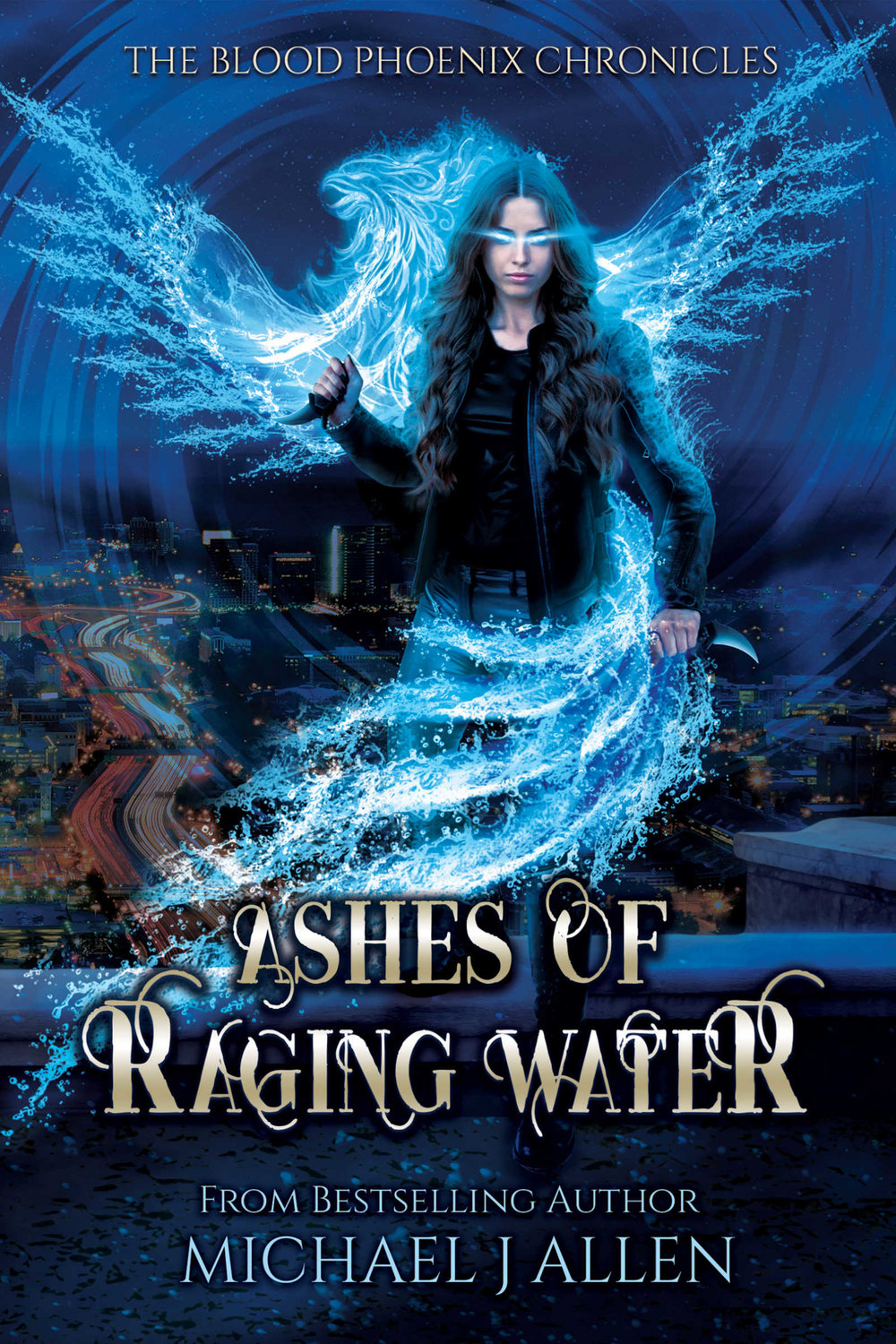 ASHES OF RAGING WATER     Michael J. Allen      Dark faeries plague Atlanta, trading wishes for slaves and souls.  When rival mischief devolves into war, a young phoenix reborn from water must risk True Death to save us from our own cataclysmic desires.
