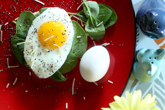 The Most Eggcellent Breakfast:    This is always so easy and satisfying. Spread coconut oil on a rice cake and sprinkle fresh ground pepper and chia seeds on top. Add a bunch of spinach with a sunny side up egg (or cooked however you want, really) and sprinkle more pepper.