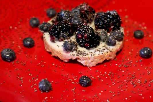 Oops All Berries:    Truly perfect. Greek yogurt, chia seeds, blue berries, and black berries or raspberries.